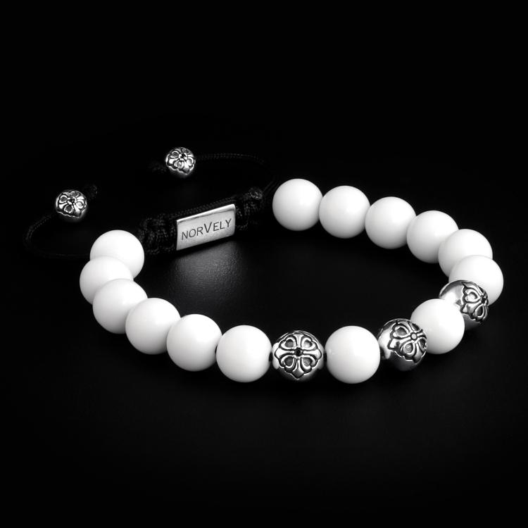 Sterling Silver Lily Balls & White Shell - Tridacna Stones 10mm Basic Bracelet