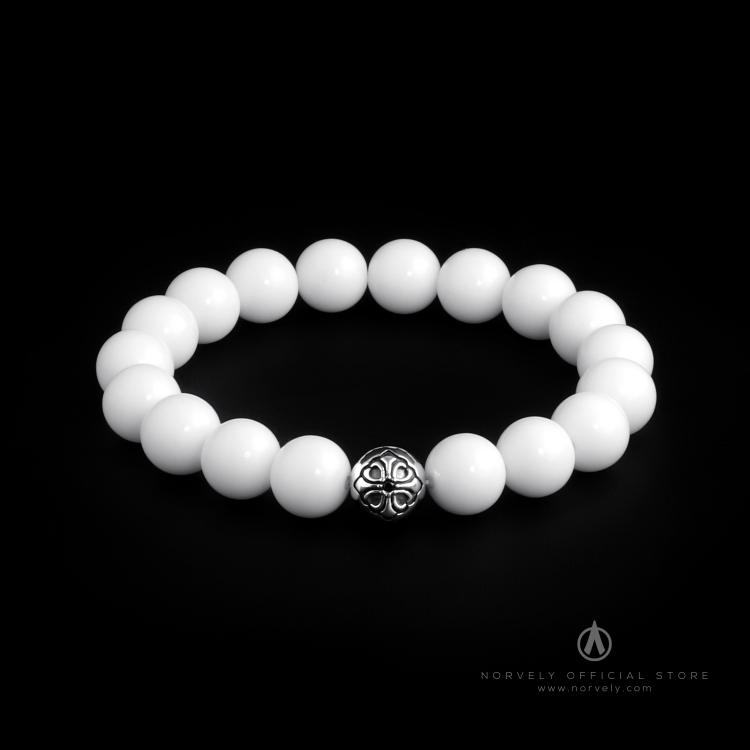 925 Sterling Silver Lily Ball & White Shell - Tridacna Stones 10mm Elastic Bracelet