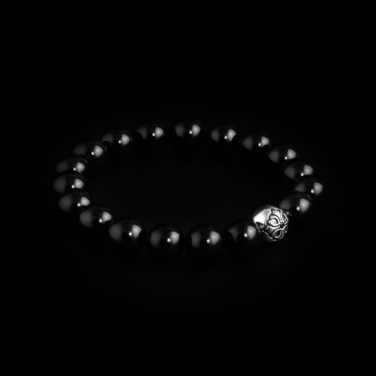 925 Sterling Silver Lily Ball & Black Onyx Stones 10mm Elastic Bracelet