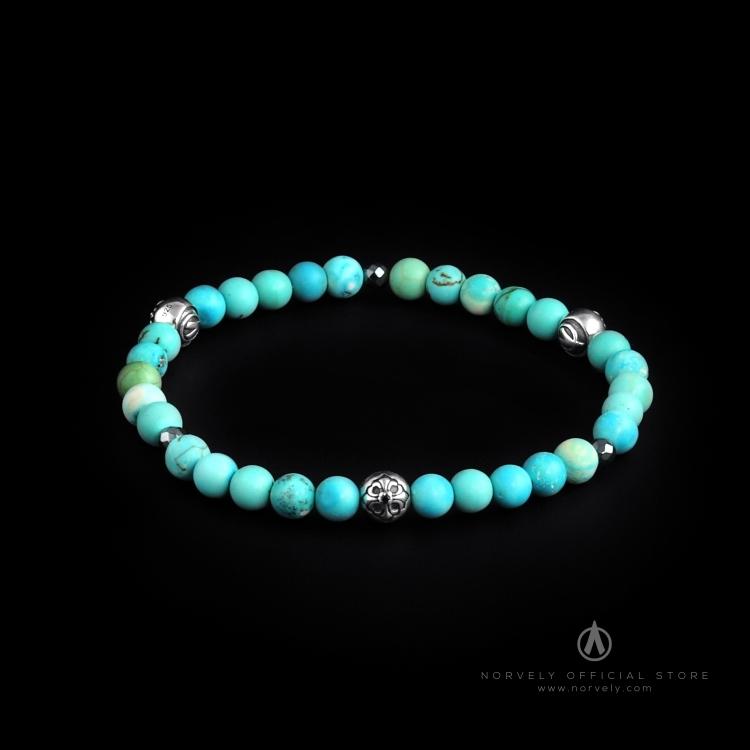 Sterling Silver Lily Balls – Bali Turquoise & Hematite Stones 6mm Elastic Bracelet