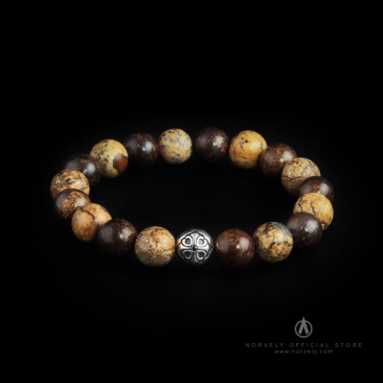 925 Sterling Silver Lily Ball – Jasper & Bronzite Stones 10mm Elastic Bracelet