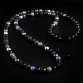 Sterling Silver Lily & CZ Diamonds Balls / Mixed Semi-Precious Stones 10mm Necklace