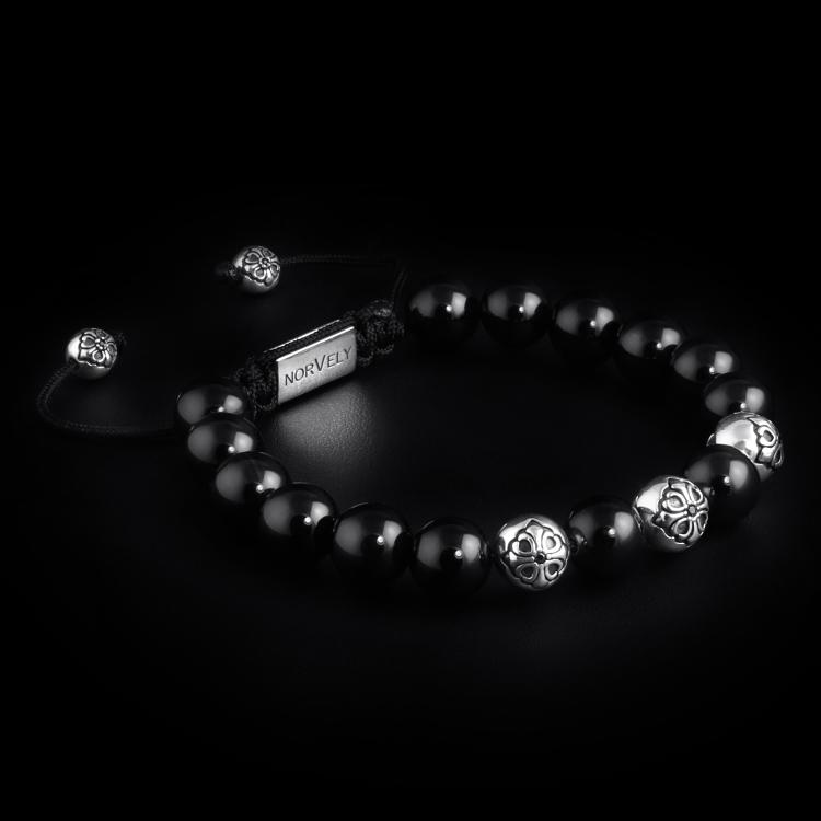 Sterling Silver Lily Balls & Onyx Stones 10mm Basic Bracelet