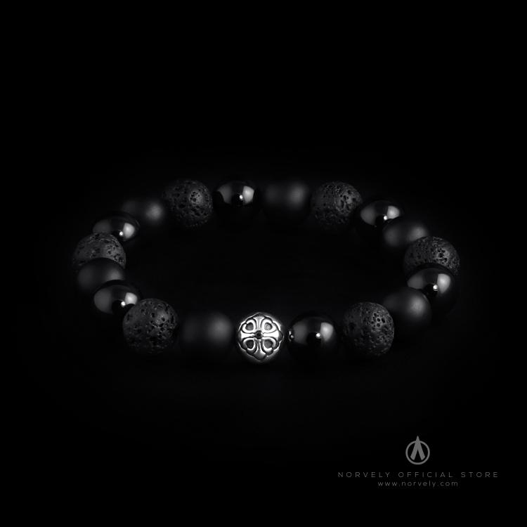925 Sterling Silver Lily Ball - Onyx & Lava Stones 10mm Elastic Bracelet
