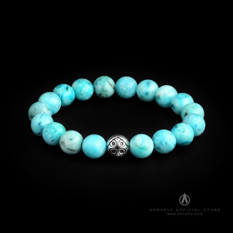 925 Sterling Silver Lily Ball & Hemimorphite Stones 10mm Elastic Bracelet