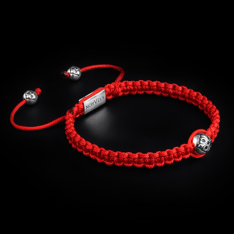 925 Sterling Silver Lily Ball & Red Cord 10mm Macrame Bracelet