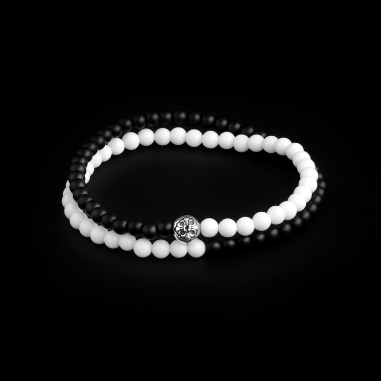 Sterling Silver Lily Ball – Tridacna & Onyx Stones 4mm Double Wrap Bracelet