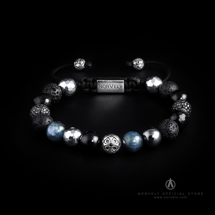 925 Silver Lily & Black CZ Diamonds Balls / Mixed Semi Precious Stones 10mm  Basic Bracelet