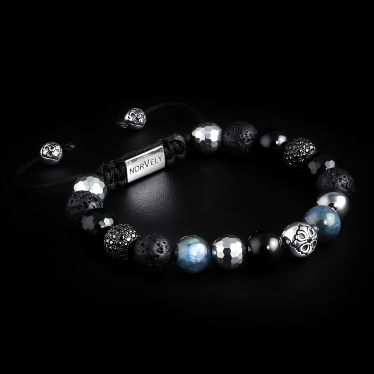 925 Silver Lily & Black CZ Diamonds Balls / Mixed Semi Precious Stones 10mm Basic Bracelet