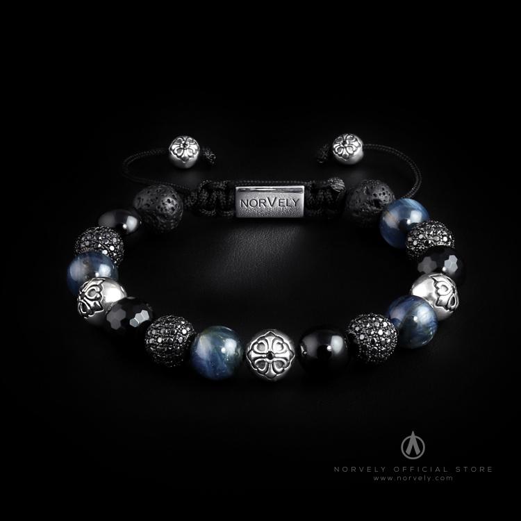 Sterling Silver Lily & Black CZ Diamonds Balls / Mixed Semi Precious Stones 10mm Basic Bracelet
