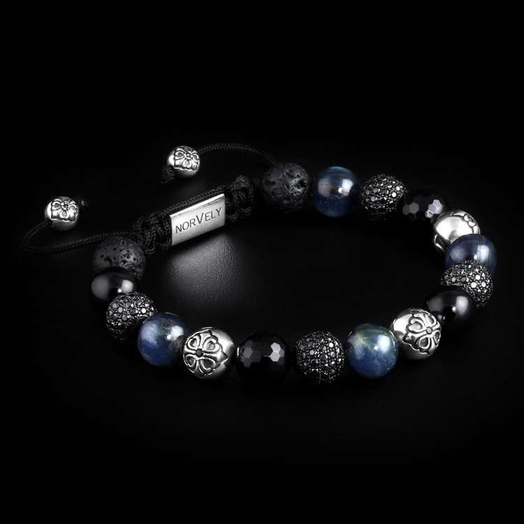 Sterling Silver Lily & Black CZ Diamonds Balls / Mixed Semi Precious Stones 10mm Basic Bracelet