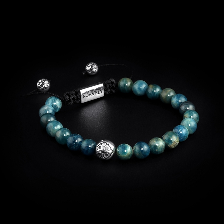 925 Sterling Silver Lily Ball & Kyanite Stones 8mm Basic Bracelet