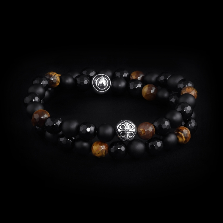 925 Sterling Silver Lily Balls - Tiger Eye & Onyx Stones 8mm Double Wrap Bracelet