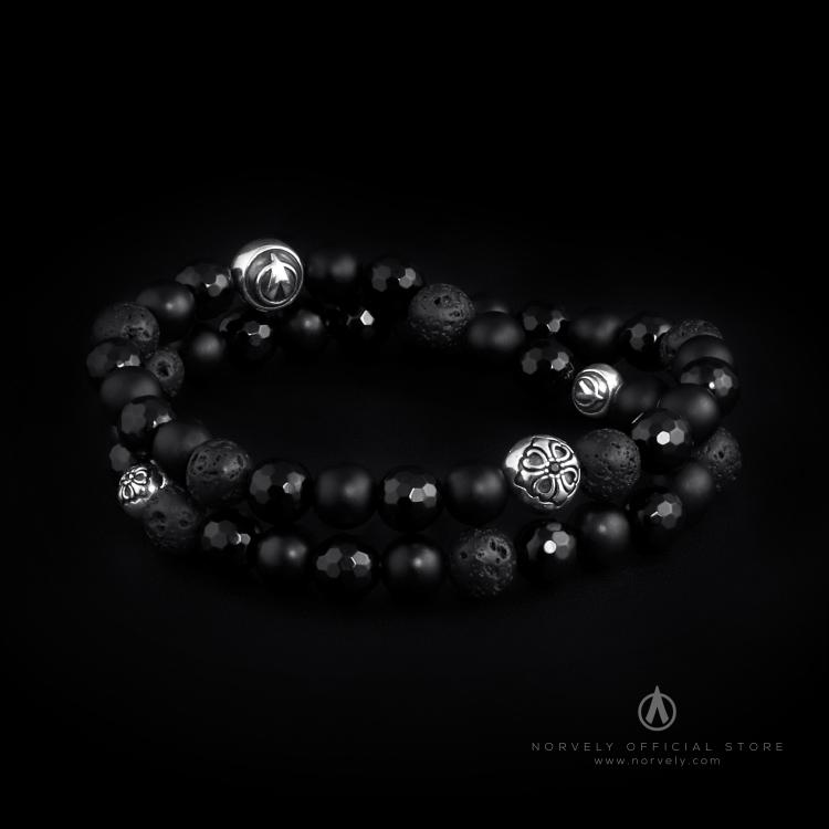 925 Sterling Silver Lily Balls - Onyx & Lava Stones 8mm Double Wrap Bracelet
