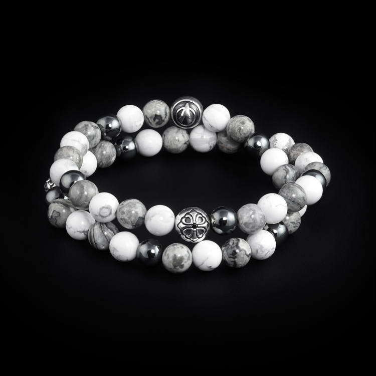 925 Sterling Silver Lily Balls - Hematite, Howlite & Jasper 8mm Double Wrap Bracelet