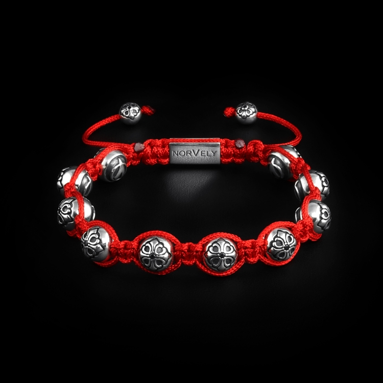 Sterling Silver Lily Balls With Black CZ Diamond 10mm Red Cord Link Bracelet