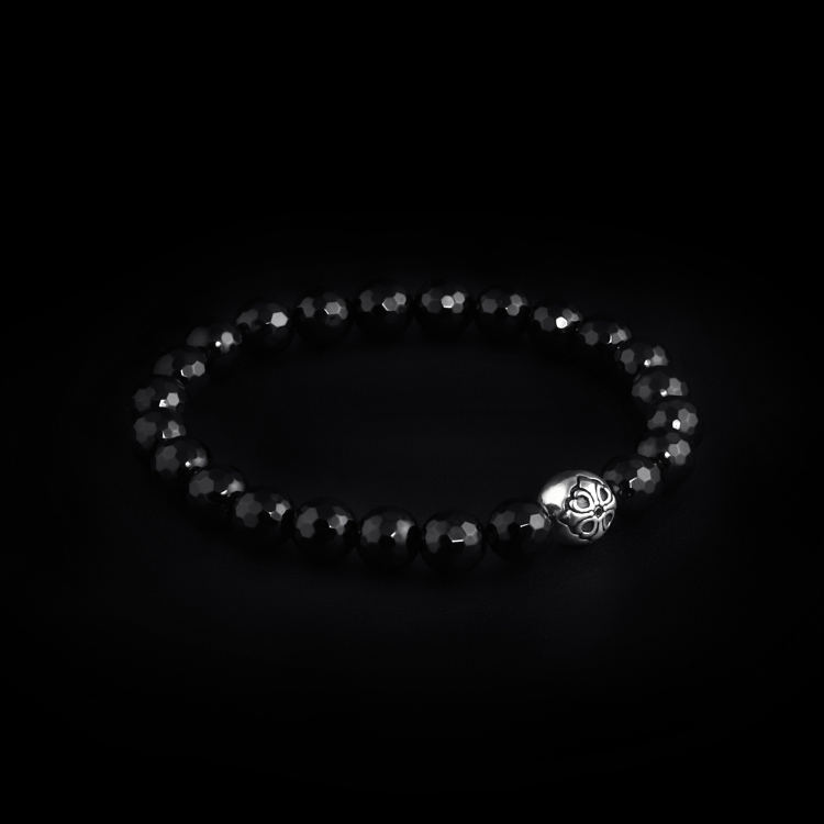 925 Sterling Silver Lily Ball & Onyx Faceted Stones 8mm Elastic Bracelet