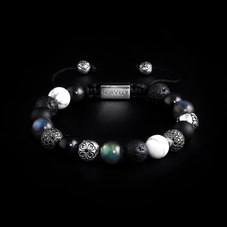 Silver Lily & CZ Diamonds / Mixed Stones - Lava Stone & Labradorite 10mm Basic Bracelet