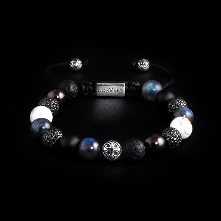 Silver Lily & CZ Diamonds / Mixed Stones – Labradorite, Garnet & Kyanite 10mm Basic Bracelet