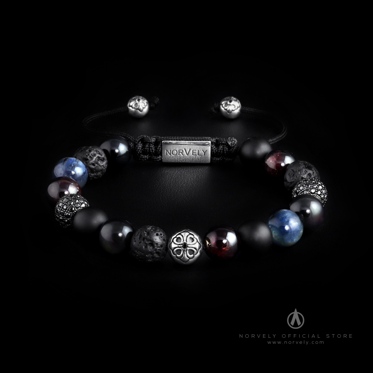 Silver Lily & CZ Diamonds / Mixed Stones – Kyanite & Garnet 10mm Basic Bracelet
