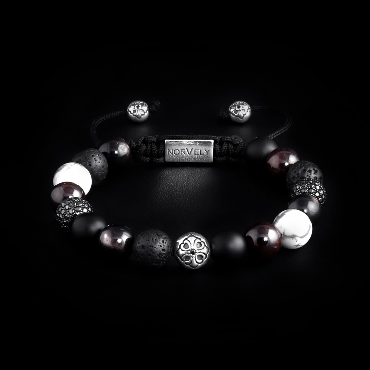 Silver Lily & CZ Diamonds / Mixed Stones – Hypersthene & Garnet 10mm Basic Bracelet