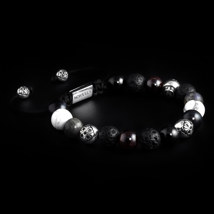 Silver Lily Balls / Mixed Stones – Labradorite, Tiger Eye & Garnet 10mm Basic Bracelet