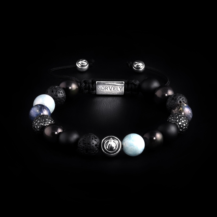 Silver Logo Ball & CZ Diamonds / Mixed Stones – Aquamarine, Kyanite & Obsidian 10mm Basic Bracelet