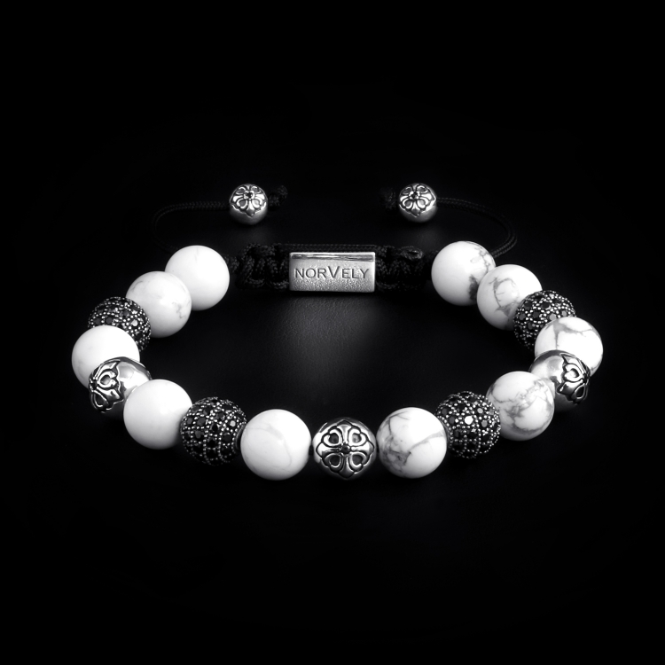 Sterling Silver Lily & CZ Diamonds Balls - Howlite 10mm Basic Bracelet