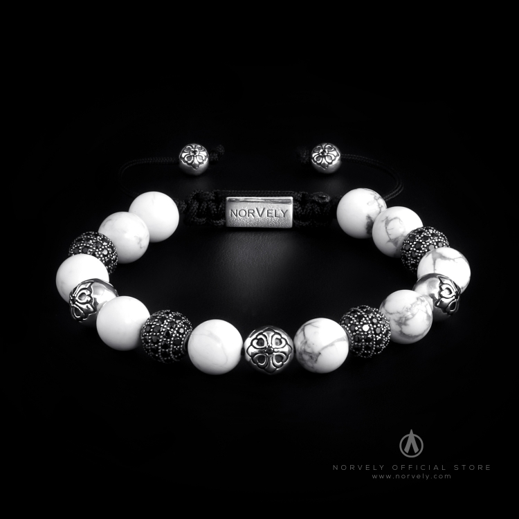 Sterling Silver Lily & CZ Diamonds Balls - Howlite 10mm Basic Bracelet