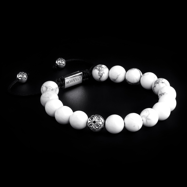 Sterling Silver Lily Ball & White Howlite Stones 10mm Basic Bracelet