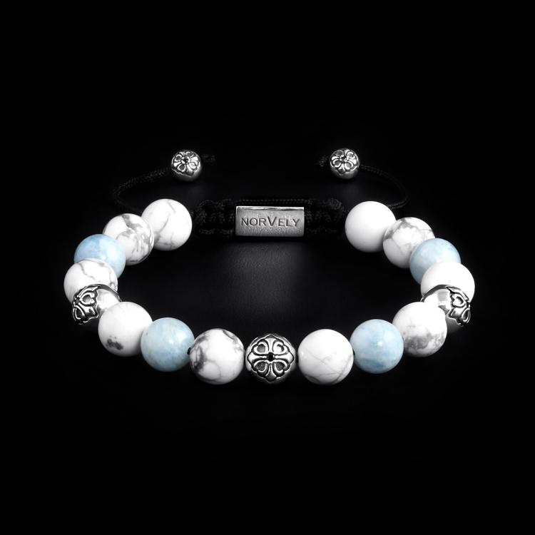 Sterling Silver Lily Balls - Aquamarine & White Howlite Stones 10mm Basic Bracelet