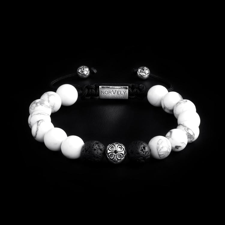 Sterling Silver Lily Ball – Howlite & Lava Stone 10mm Basic Bracelet