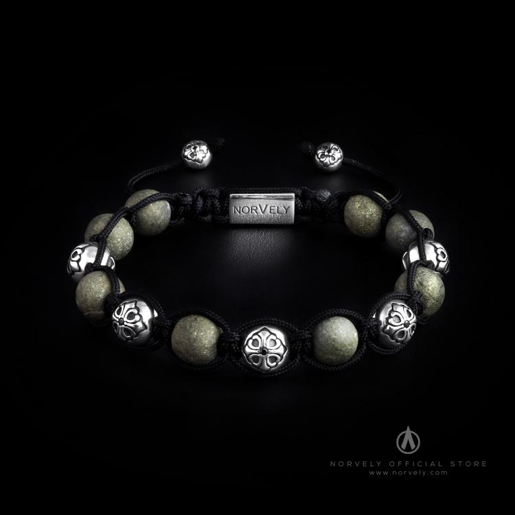 Sterling Silver Lily Balls & Pyrite Stones 10mm Link Bracelet