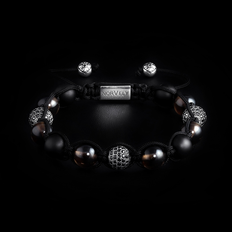 Sterling Silver CZ Diamonds Balls – Smoky Quartz & Matte Onyx 10mm Link Bracelet