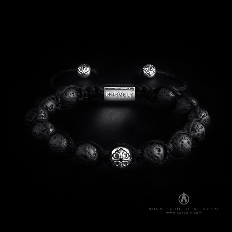 Sterling Silver Lily Ball & Black Lava Stones 10mm Link Bracelet