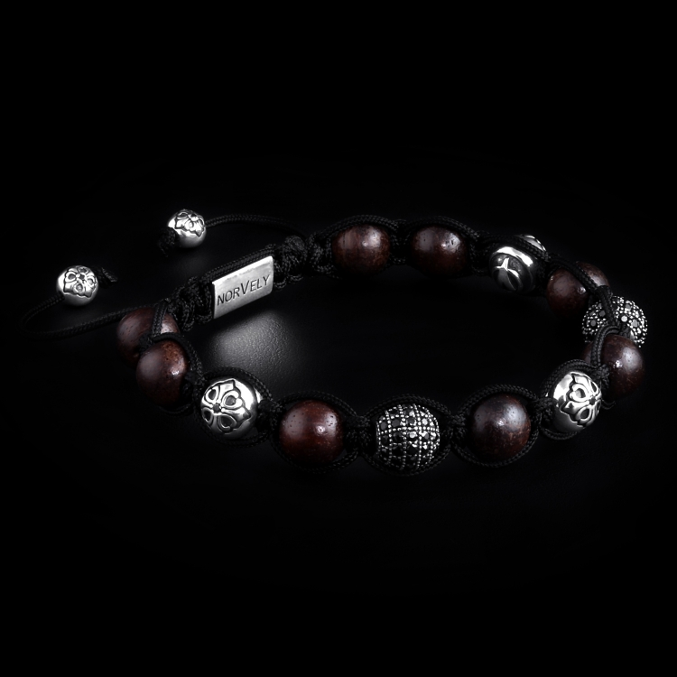 Sterling Silver Lily & CZ Diamonds Balls - Ebony Wood Beads 10mm Link Bracelet