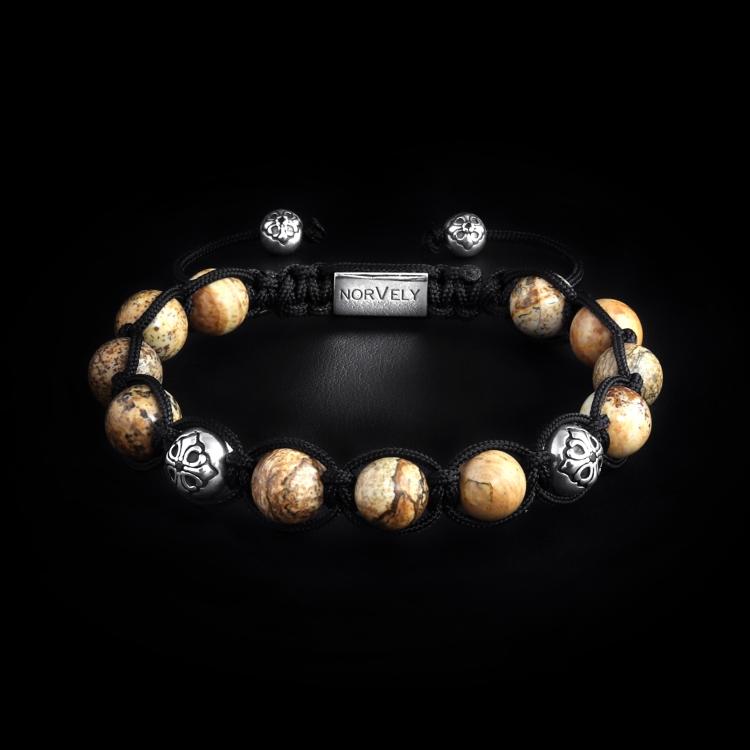 Sterling Silver Lily Balls & Picture Jasper Stones 10mm Link Bracelet