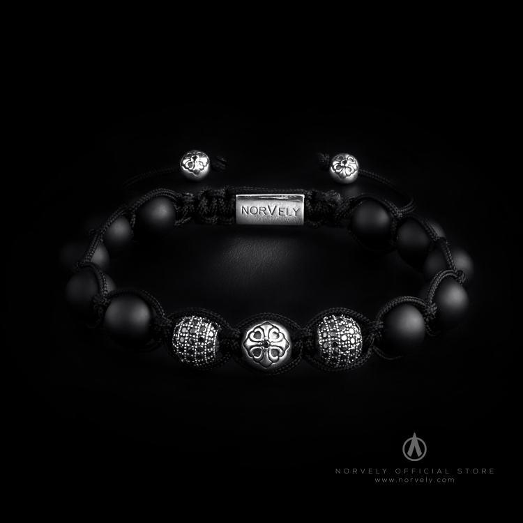 Sterling Silver Lily & CZ Diamonds Balls - Matte Onyx 10mm Link Bracelet