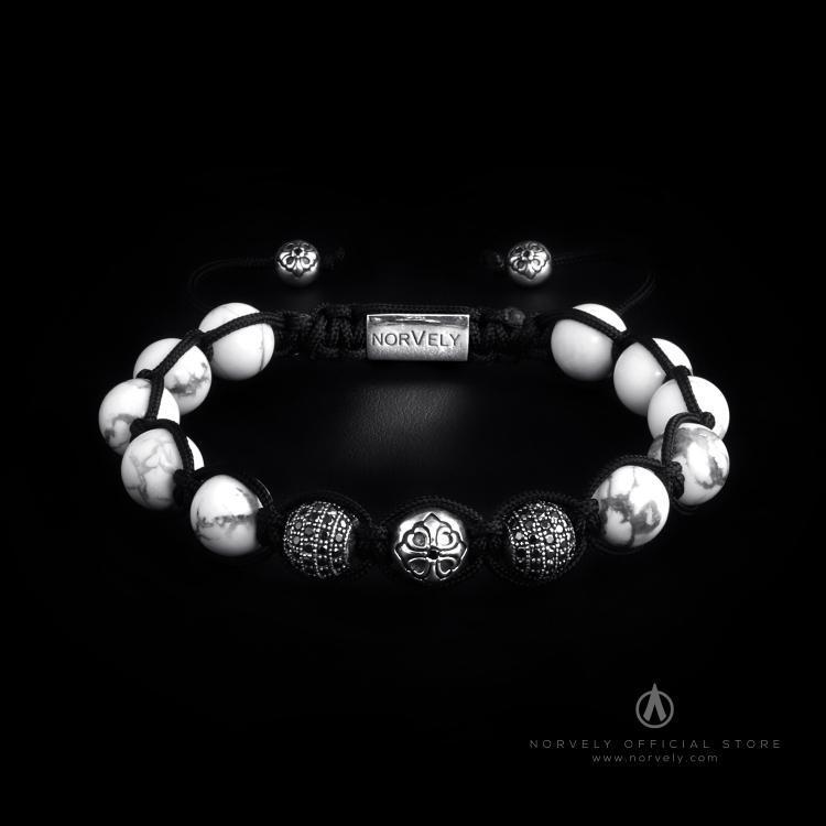 Sterling Silver Lily & CZ Diamonds Balls - Howlite 10mm Link Bracelet