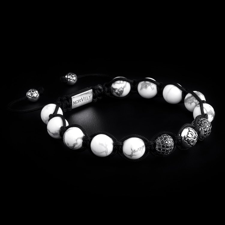 Sterling Silver Lily & CZ Diamonds Balls - Howlite 10mm Link Bracelet