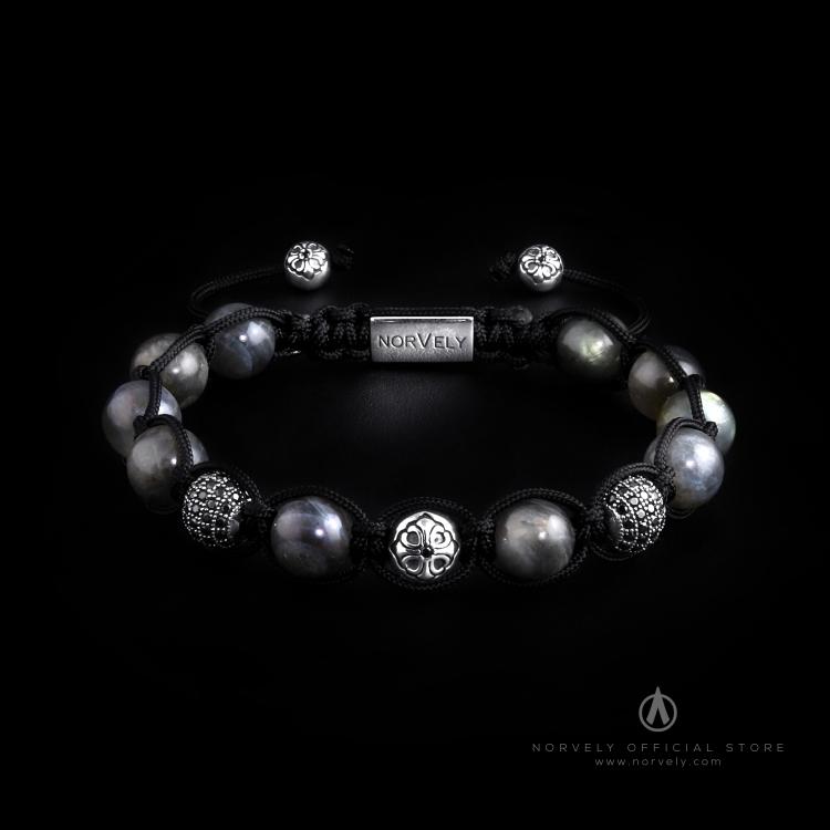 Sterling Silver Lily & CZ Diamonds Balls - Labradorite 10mm Link Bracelet