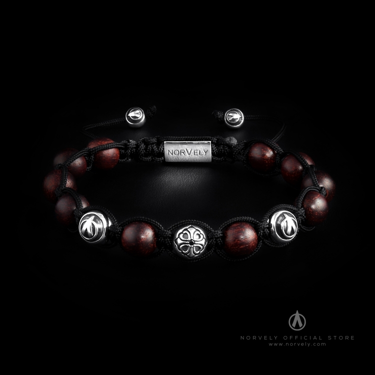 Sterling Silver Lily & Logo Balls - Rosewood 10mm Link Bracelet