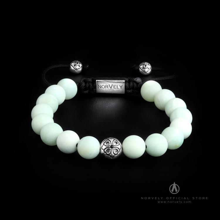 Sterling Silver Lily Ball & Matte Amazonite 10mm Basic Bracelet