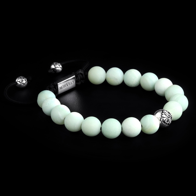 Sterling Silver Lily Ball & Matte Amazonite 10mm Basic Bracelet