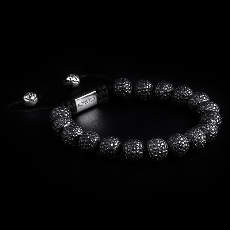 Sterling Silver Ruthenium Plated Beads With Black CZ Diamonds 10mm Basic Bracelet