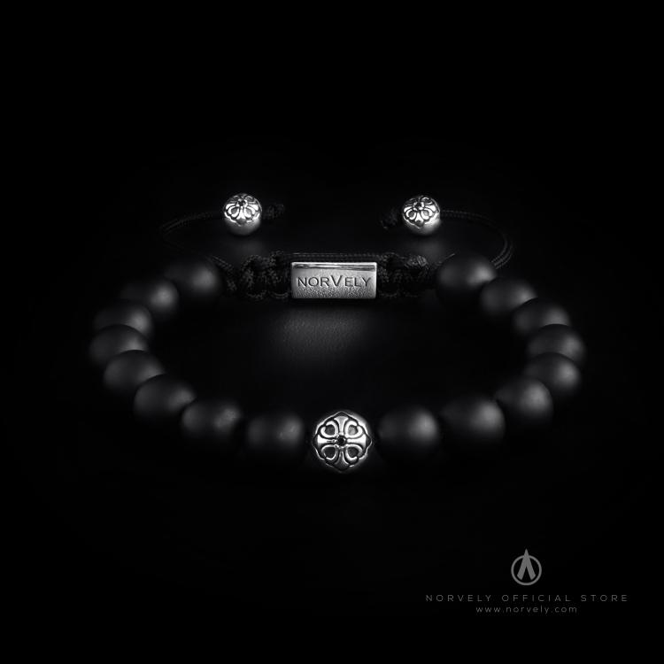 Sterling Silver Lily Ball & Matte Onyx 10mm Basic Bracelet