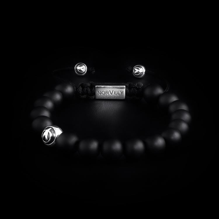Sterling Silver Logo Ball & Matte Onyx 10mm Basic Bracelet