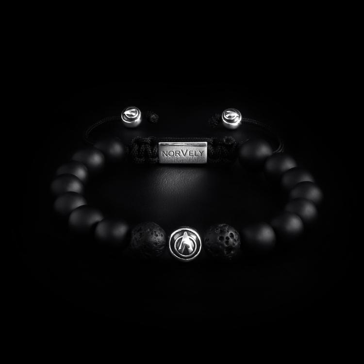 Sterling Silver Logo Ball - Matte Onyx & Lava Stone 10mm Basic Bracelet