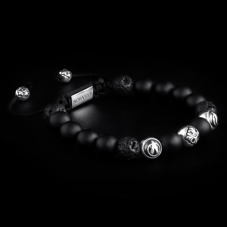 Sterling Silver Lily & Logo Balls - Matte Onyx & Lava Stones 10mm Basic Bracelet