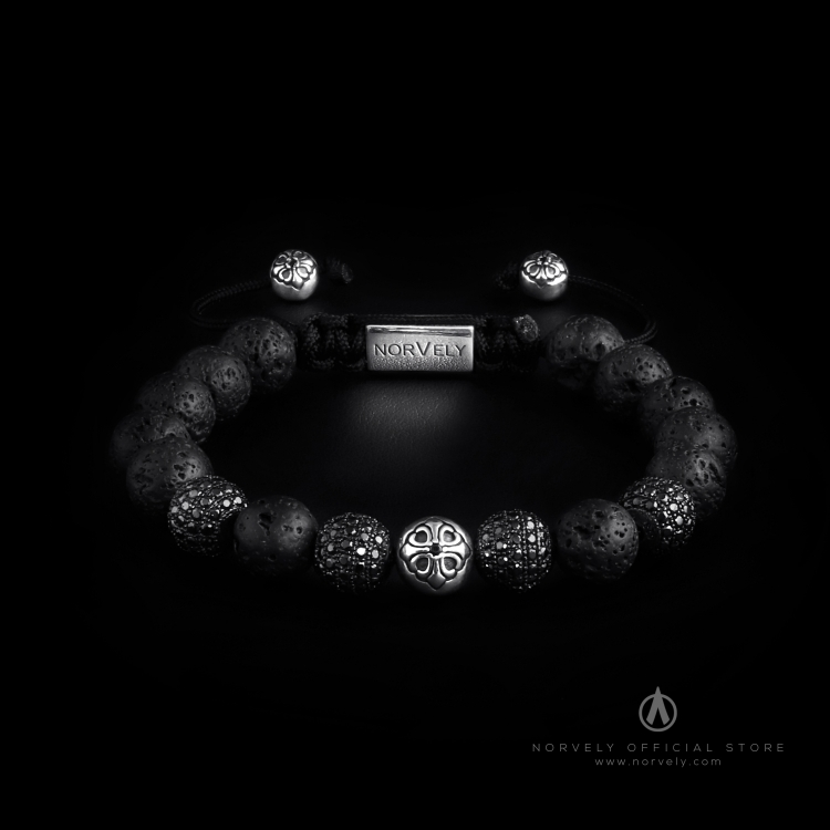Sterling Silver Lily & CZ Diamonds Balls - Lava Stones 10mm Basic Bracelet